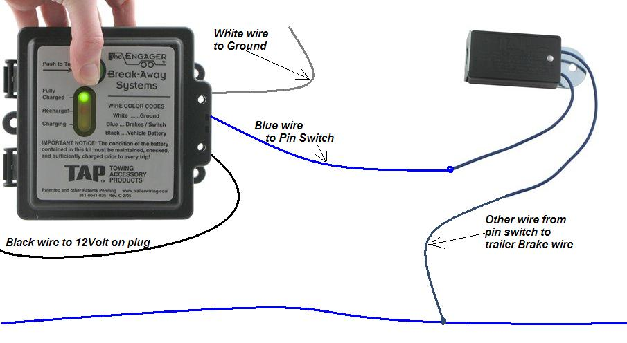 Wiring Diagram For Trailer Breakaway Switch : Tap engager trailer break away w led brake battery switch