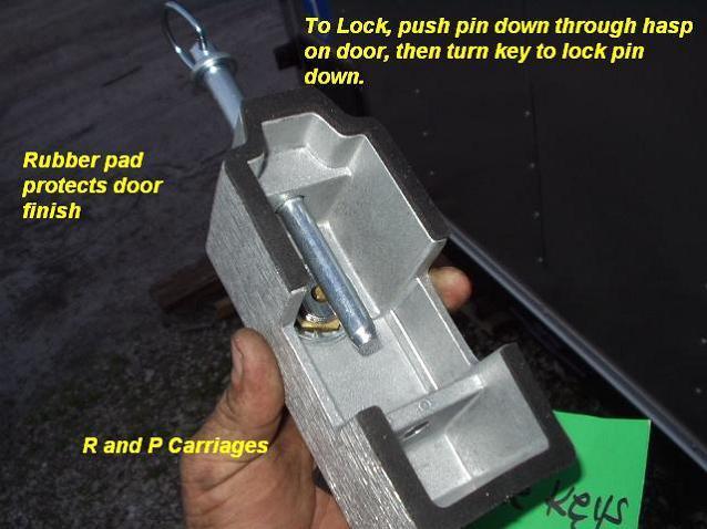 Two cargo trailer door locks cam bar dl blaylock keyed